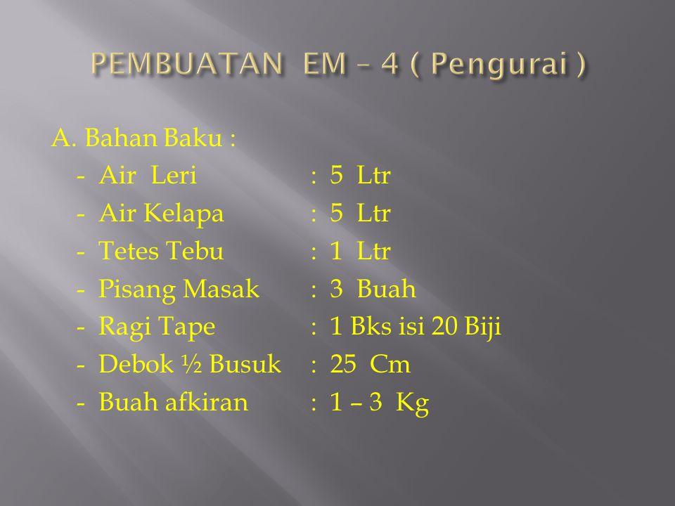 A. Bahan Baku : - Air Leri: 5 Ltr - Air Kelapa: 5 Ltr - Tetes Tebu: 1 Ltr - Pisang Masak: 3 Buah - Ragi Tape: 1 Bks isi 20 Biji - Debok ½ Busuk: 25 Cm