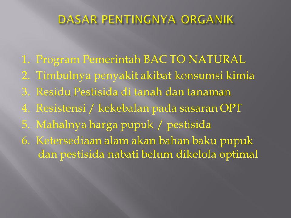 1. Program Pemerintah BAC TO NATURAL 2. Timbulnya penyakit akibat konsumsi kimia 3. Residu Pestisida di tanah dan tanaman 4. Resistensi / kekebalan pa