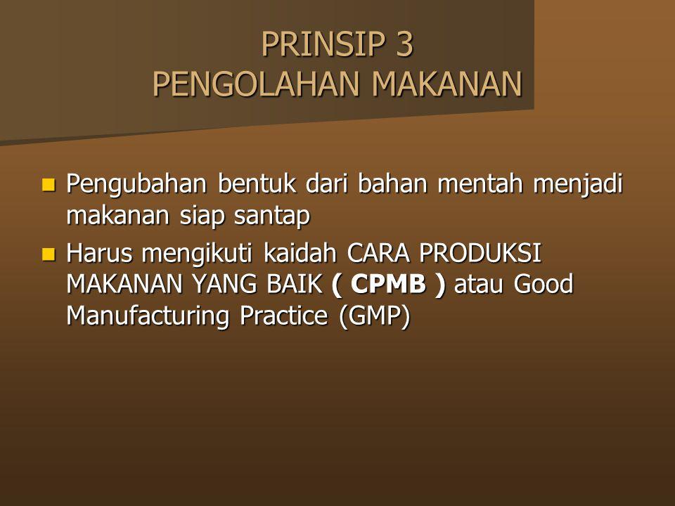 PRINSIP 3 PENGOLAHAN MAKANAN Pengubahan bentuk dari bahan mentah menjadi makanan siap santap Pengubahan bentuk dari bahan mentah menjadi makanan siap