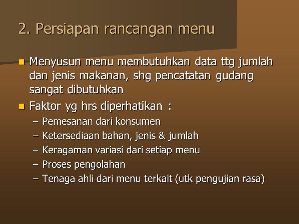 2. Persiapan rancangan menu Menyusun menu membutuhkan data ttg jumlah dan jenis makanan, shg pencatatan gudang sangat dibutuhkan Menyusun menu membutu