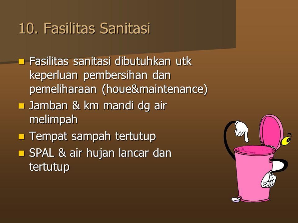 10. Fasilitas Sanitasi Fasilitas sanitasi dibutuhkan utk keperluan pembersihan dan pemeliharaan (houe&maintenance) Fasilitas sanitasi dibutuhkan utk k