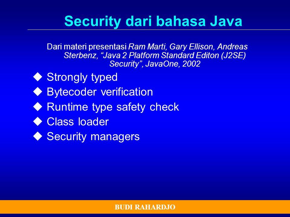 """BUDI RAHARDJO Security dari bahasa Java Dari materi presentasi Ram Marti, Gary Ellison, Andreas Sterbenz, """"Java 2 Platform Standard Editon (J2SE) Secu"""