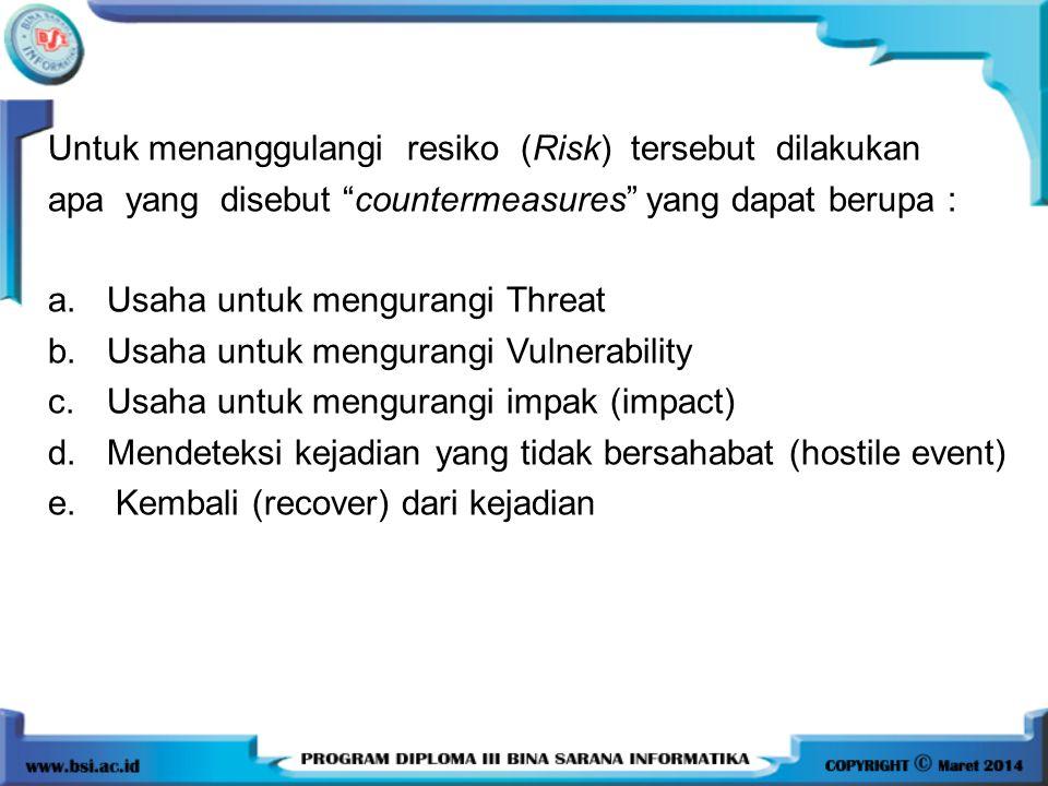 "Untuk menanggulangi resiko (Risk) tersebut dilakukan apa yang disebut ""countermeasures"" yang dapat berupa : a. Usaha untuk mengurangi Threat b. Usaha"