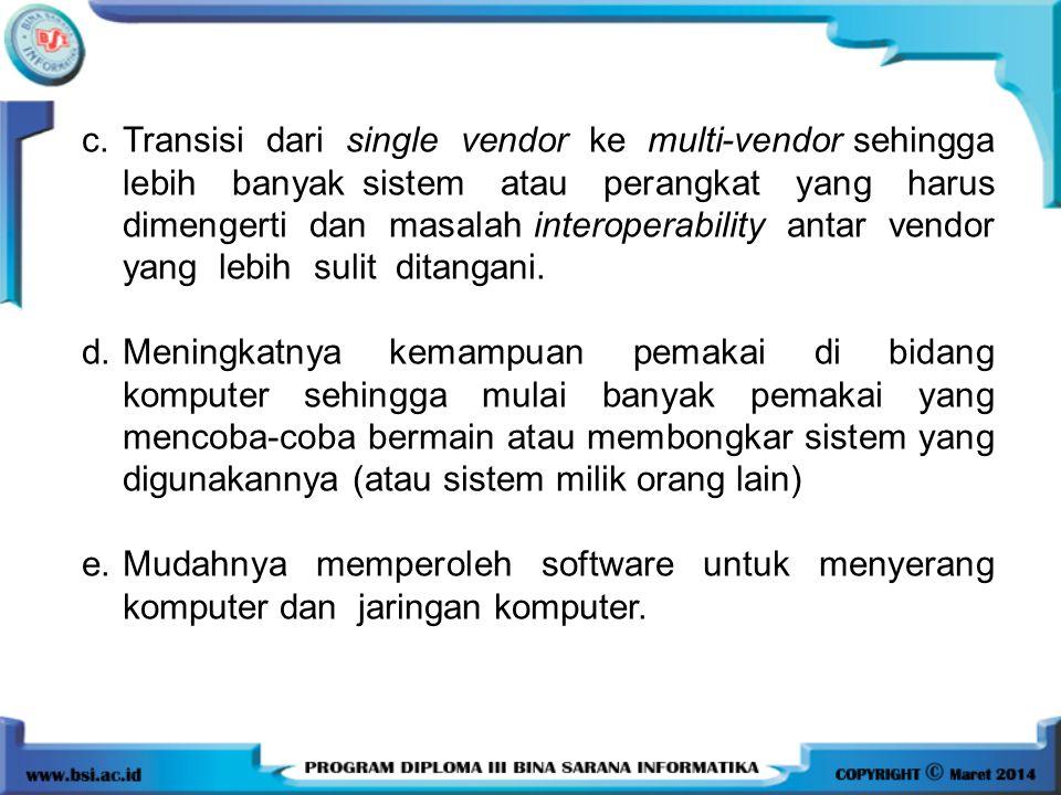 c.Transisi dari single vendor ke multi-vendor sehingga lebih banyak sistem atau perangkat yang harus dimengerti dan masalah interoperability antar ven