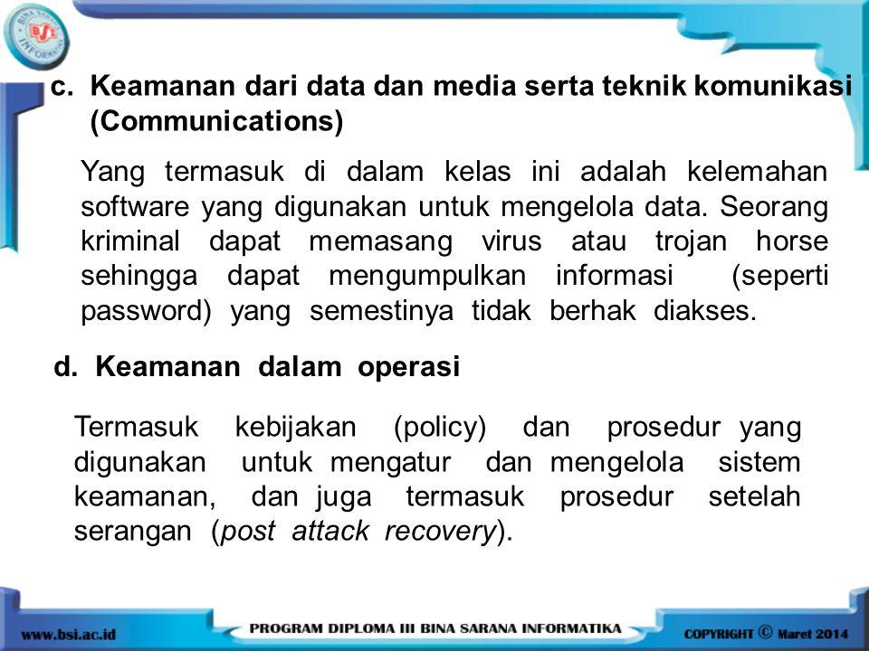 c. Keamanan dari data dan media serta teknik komunikasi (Communications) Yang termasuk di dalam kelas ini adalah kelemahan software yang digunakan unt