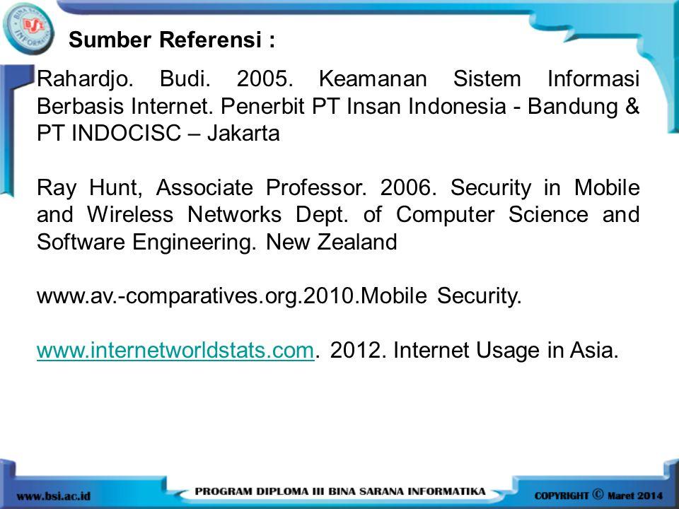 Rahardjo. Budi. 2005. Keamanan Sistem Informasi Berbasis Internet. Penerbit PT Insan Indonesia - Bandung & PT INDOCISC – Jakarta Ray Hunt, Associate P