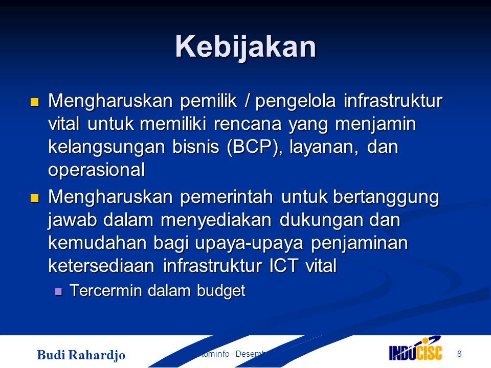 Budi Rahardjo 8Kominfo - Desember 2004 Kebijakan Mengharuskan pemilik / pengelola infrastruktur vital untuk memiliki rencana yang menjamin kelangsungan bisnis (BCP), layanan, dan operasional Mengharuskan pemilik / pengelola infrastruktur vital untuk memiliki rencana yang menjamin kelangsungan bisnis (BCP), layanan, dan operasional Mengharuskan pemerintah untuk bertanggung jawab dalam menyediakan dukungan dan kemudahan bagi upaya-upaya penjaminan ketersediaan infrastruktur ICT vital Mengharuskan pemerintah untuk bertanggung jawab dalam menyediakan dukungan dan kemudahan bagi upaya-upaya penjaminan ketersediaan infrastruktur ICT vital Tercermin dalam budget Tercermin dalam budget