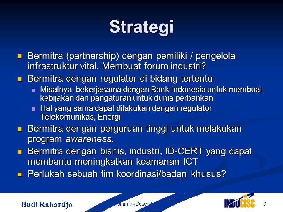 Budi Rahardjo 9Kominfo - Desember 2004 Strategi Bermitra (partnership) dengan pemiliki / pengelola infrastruktur vital.