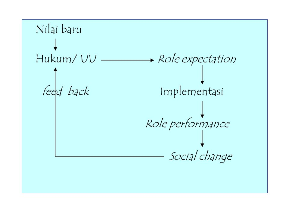 Nilai baru Hukum/ UU Role expectation feed back Implementasi Role performance Social change