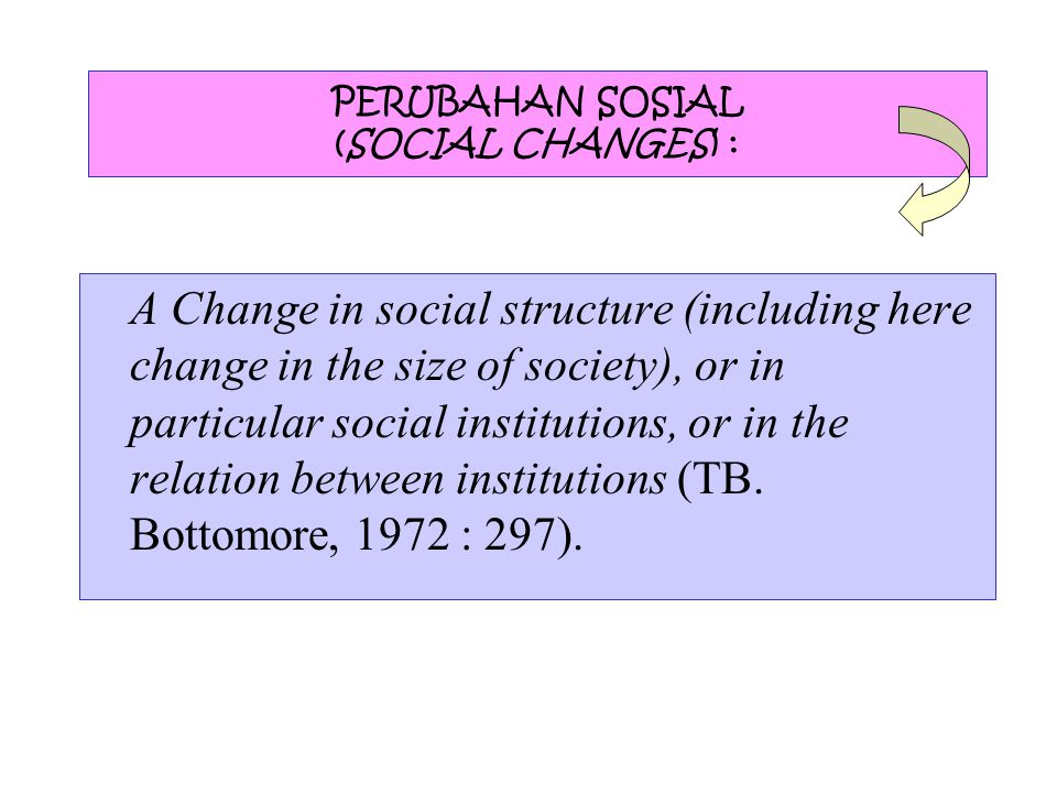 PERUBAHAN SOSIAL (SOCIAL CHANGES) : A Change in social structure (including here change in the size of society), or in particular social institutions, or in the relation between institutions (TB.