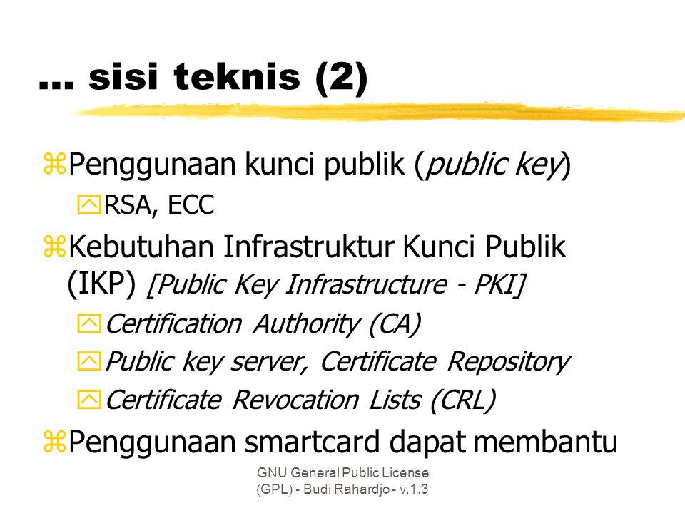 GNU General Public License (GPL) - Budi Rahardjo - v.1.3 … sisi teknis (2) zPenggunaan kunci publik (public key) yRSA, ECC zKebutuhan Infrastruktur Kunci Publik (IKP) [Public Key Infrastructure - PKI] yCertification Authority (CA) yPublic key server, Certificate Repository yCertificate Revocation Lists (CRL) zPenggunaan smartcard dapat membantu