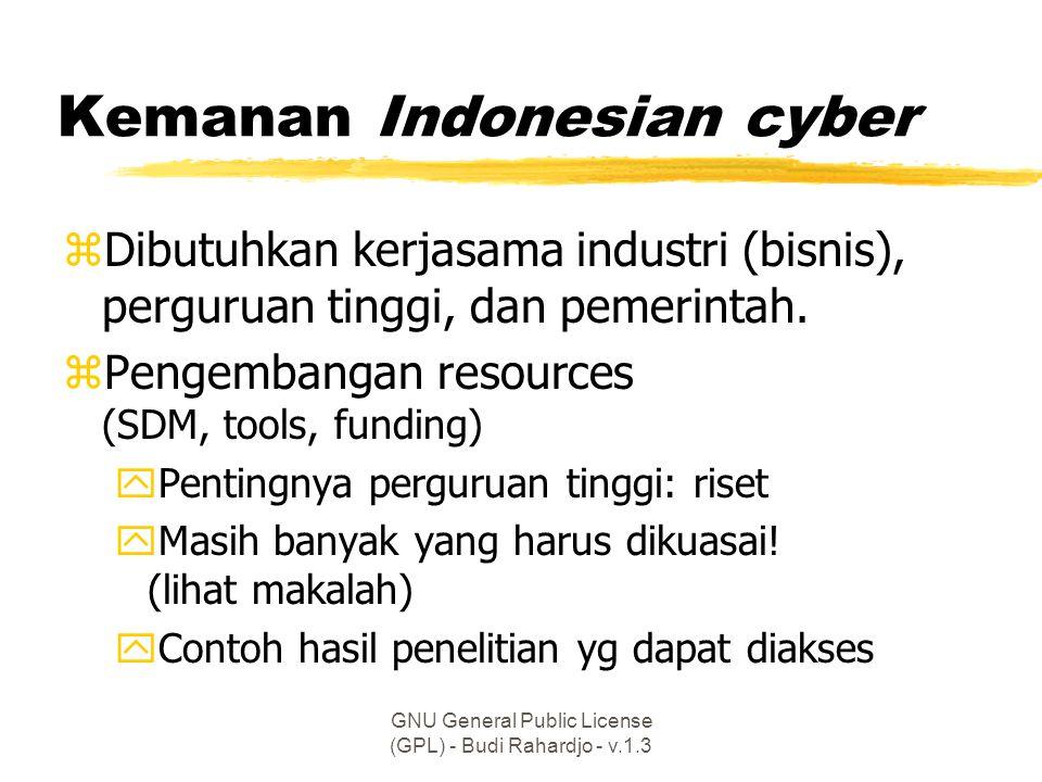 GNU General Public License (GPL) - Budi Rahardjo - v.1.3 Kemanan Indonesian cyber zDibutuhkan kerjasama industri (bisnis), perguruan tinggi, dan pemerintah.