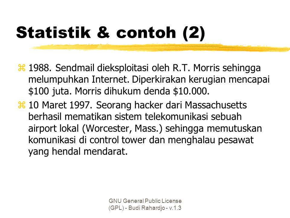 GNU General Public License (GPL) - Budi Rahardjo - v.1.3 … sisi teknis (4) zMasalah HaKI (intelectual property rights) zMasalah hukum (legal aspects) zPlaying field harus sama (level)