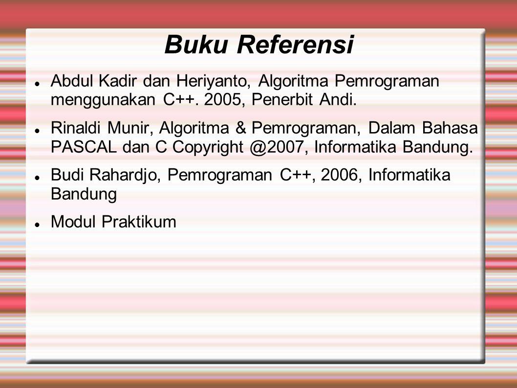 Buku Referensi Abdul Kadir dan Heriyanto, Algoritma Pemrograman menggunakan C++.