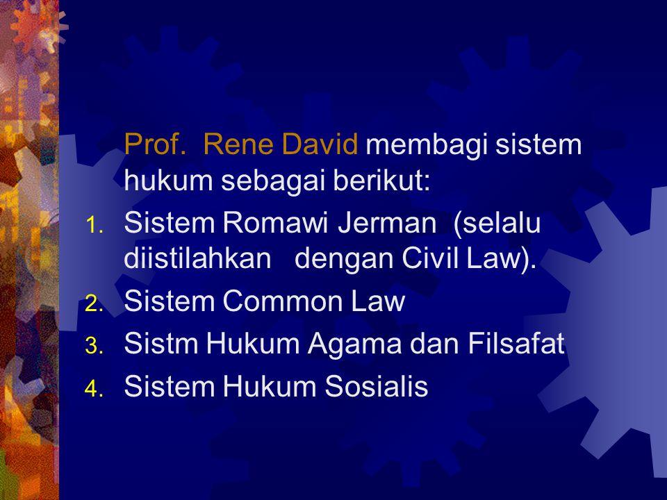 II. SISTEM HUKUM DUNIA Yang dimaksud dengan Sistem Hukum; Sistem merupakan tatanan atau kesatuan yang utuh yag terdiri dari bagian-bagian atau unsur-