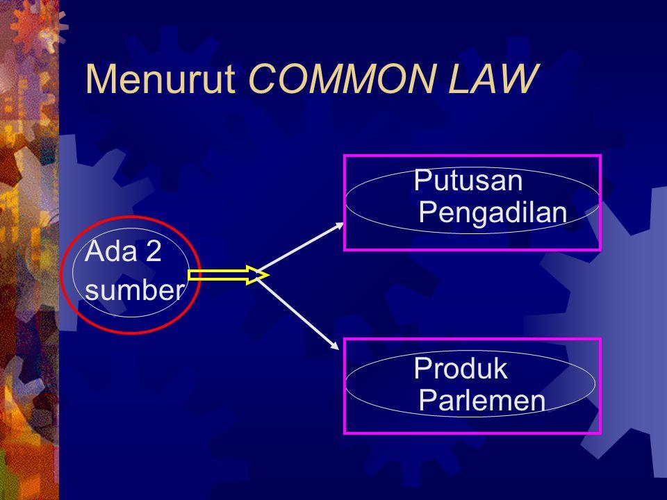 Menurut CIVIL LAW 1. Undang-undang 2. Kebiasaan 4 Sumber 3. Traktat 4. Doktrin