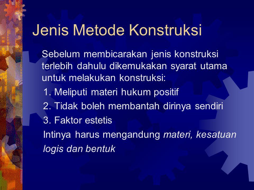 Jenis Interpretasi dewasa ini  Metode subsumptif  Interpretasi gramatikal  Intrpretasi historis  Interpretasi sistematis  Interpretasi sosiologis atau teleologis  Interpretasi komparatif  Interpretasi futuristis  Interpretasi restriktif  Interpretasi ekstensif