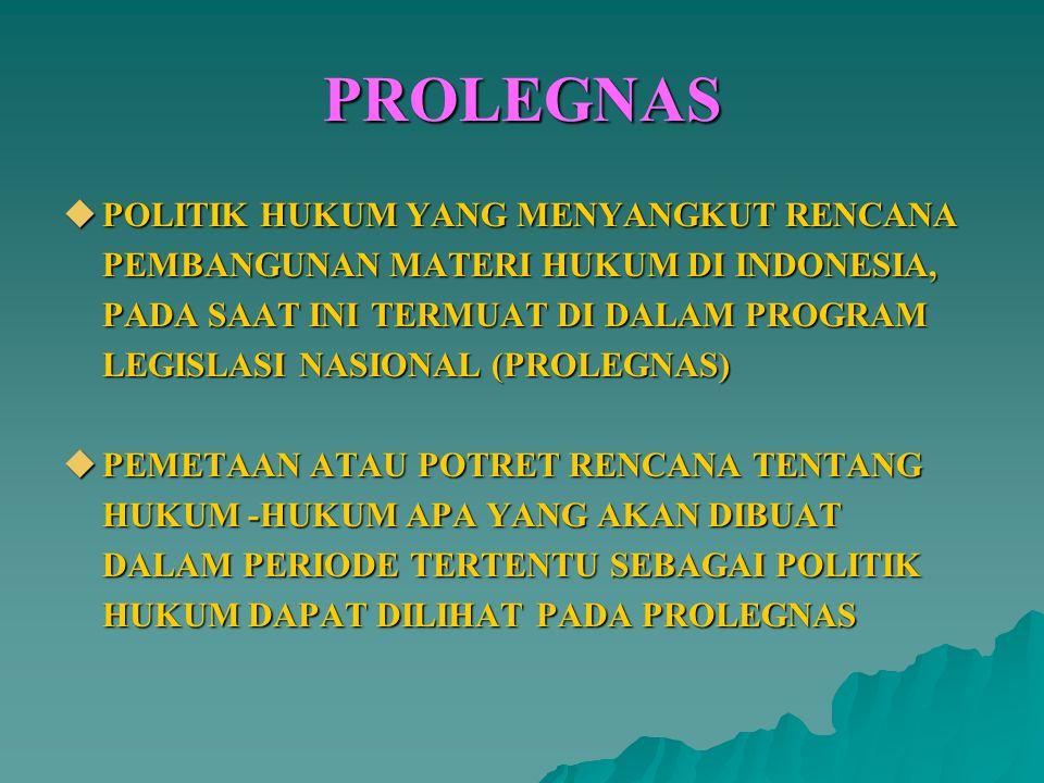 PROLEGNAS  POLITIK HUKUM YANG MENYANGKUT RENCANA PEMBANGUNAN MATERI HUKUM DI INDONESIA, PADA SAAT INI TERMUAT DI DALAM PROGRAM LEGISLASI NASIONAL (PR