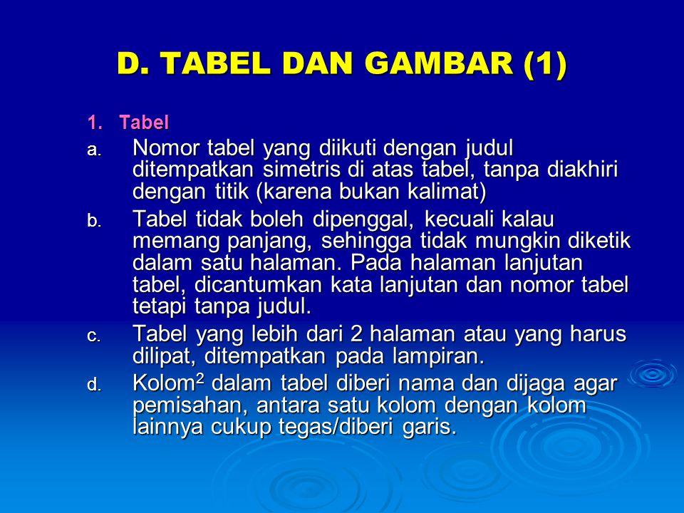 D. TABEL DAN GAMBAR (1) 1. Tabel a. Nomor tabel yang diikuti dengan judul ditempatkan simetris di atas tabel, tanpa diakhiri dengan titik (karena buka