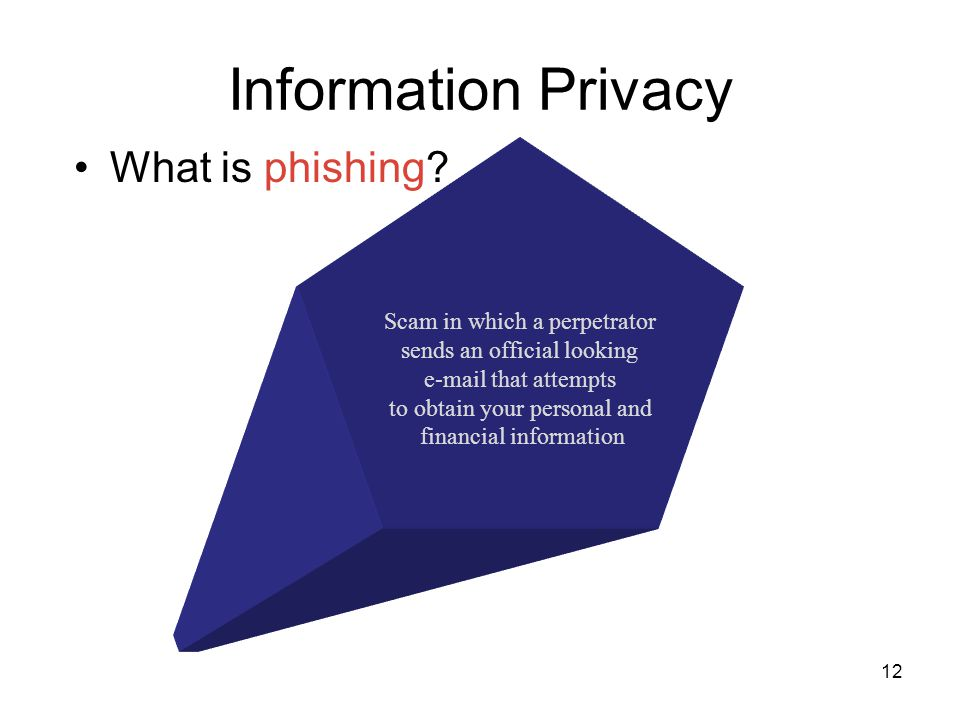 Information Privacy What is phishing? Scam in which a perpetrator sends an official looking e-mail that attempts to obtain your personal and financial