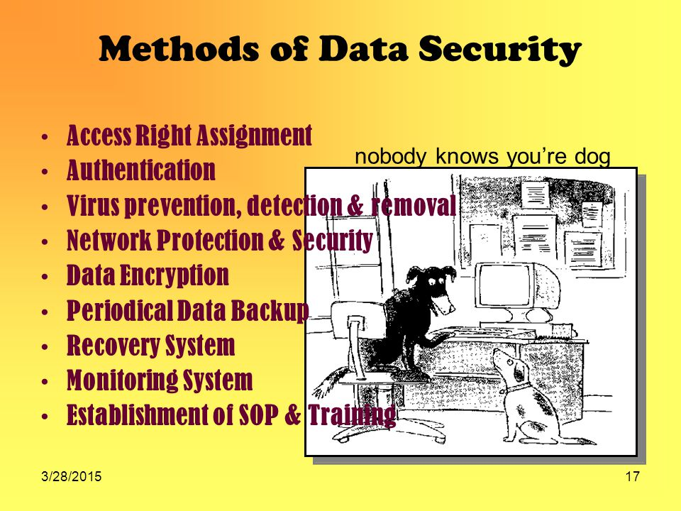 3/28/201517 Methods of Data Security Access Right Assignment Authentication Virus prevention, detection & removal Network Protection & Security Data Encryption Periodical Data Backup Recovery System Monitoring System Establishment of SOP & Training nobody knows you're dog