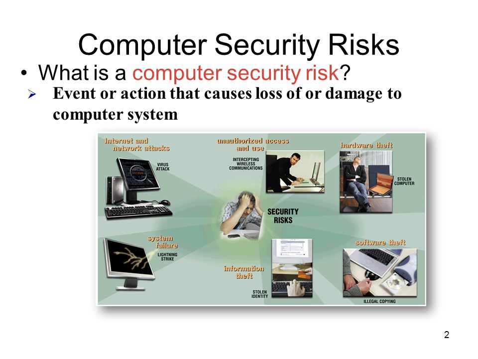 Computer Security Risks What is a computer security risk?  Event or action that causes loss of or damage to computer system 2