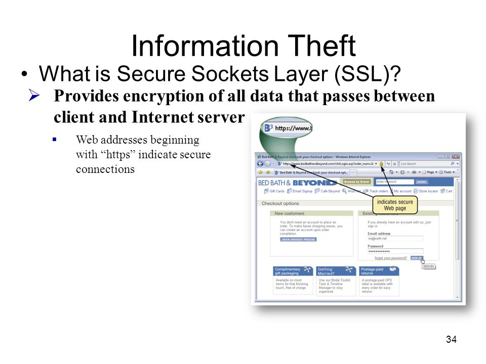 Information Theft What is Secure Sockets Layer (SSL)?  Provides encryption of all data that passes between client and Internet server  Web addresses