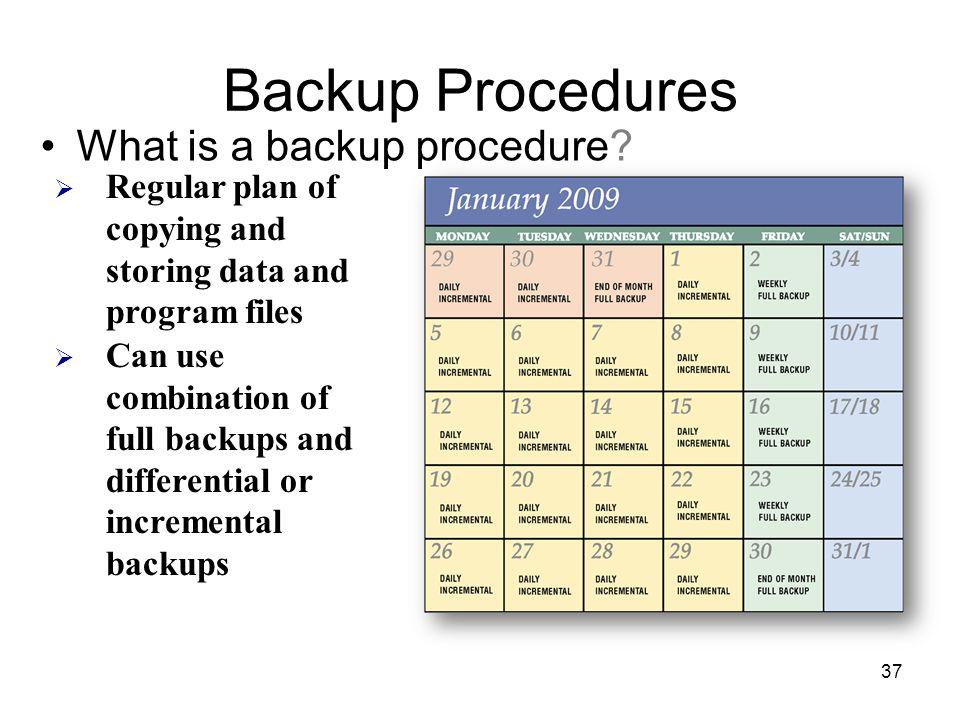 Backup Procedures What is a backup procedure.