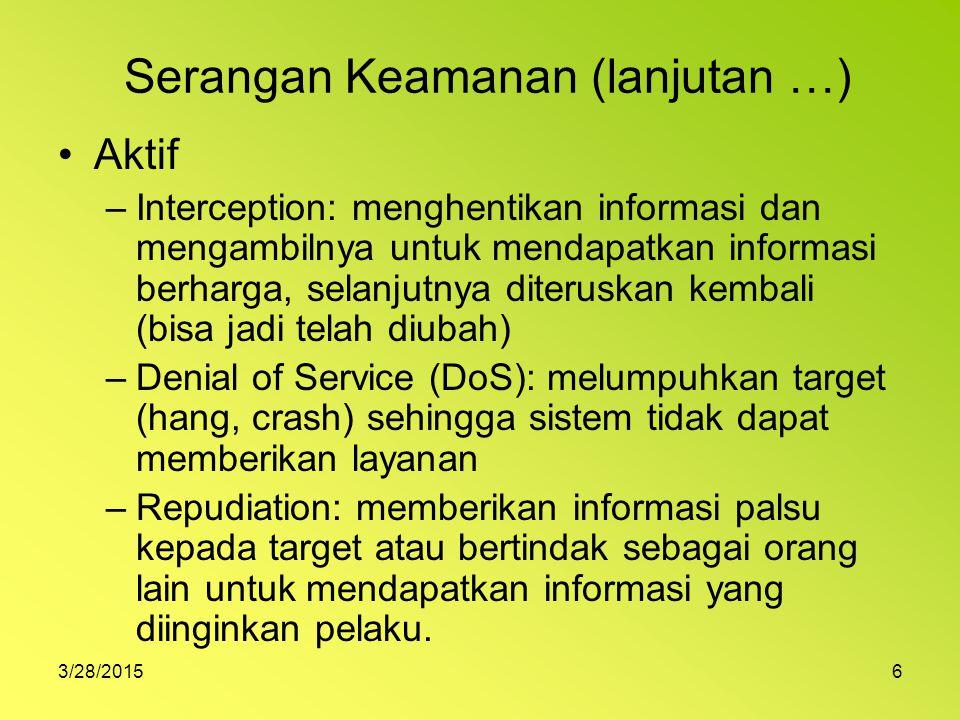 3/28/20156 Serangan Keamanan (lanjutan …) Aktif –Interception: menghentikan informasi dan mengambilnya untuk mendapatkan informasi berharga, selanjutn