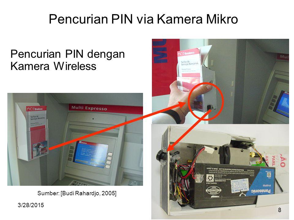 3/28/20158 Pencurian PIN via Kamera Mikro Pencurian PIN dengan Kamera Wireless Sumber: [Budi Rahardjo, 2005] 8