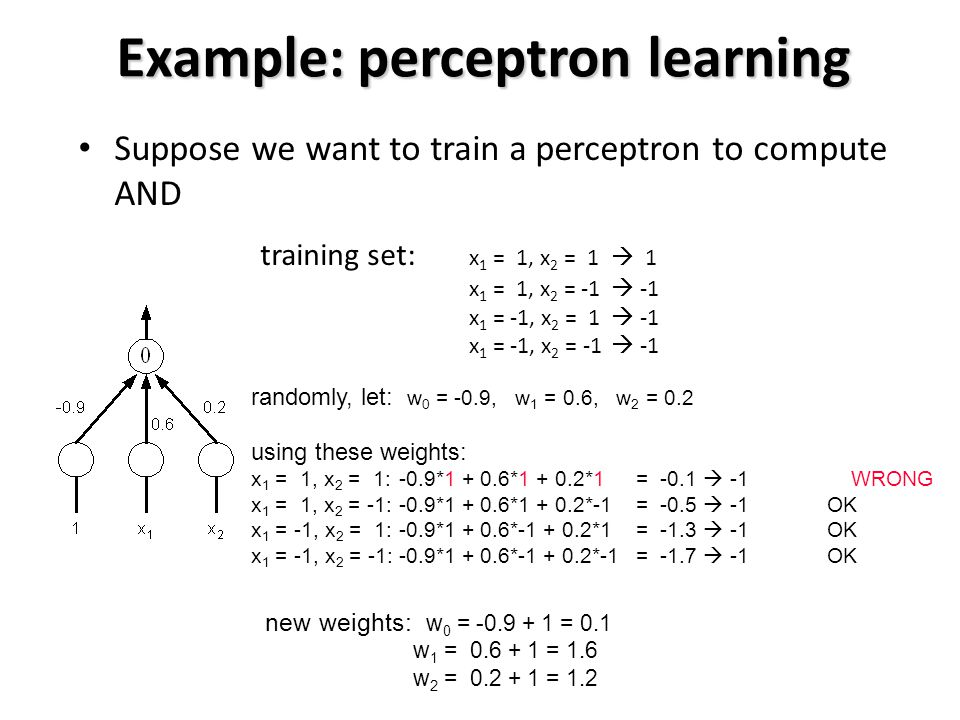 Example: perceptron learning Suppose we want to train a perceptron to compute AND training set: x 1 = 1, x 2 = 1  1 x 1 = 1, x 2 = -1  -1 x 1 = -1, x 2 = 1  -1 x 1 = -1, x 2 = -1  -1 randomly, let: w 0 = -0.9, w 1 = 0.6, w 2 = 0.2 using these weights: x 1 = 1, x 2 = 1:-0.9*1 + 0.6*1 + 0.2*1 = -0.1  -1 WRONG x 1 = 1, x 2 = -1:-0.9*1 + 0.6*1 + 0.2*-1 = -0.5  -1 OK x 1 = -1, x 2 = 1:-0.9*1 + 0.6*-1 + 0.2*1 = -1.3  -1 OK x 1 = -1, x 2 = -1:-0.9*1 + 0.6*-1 + 0.2*-1= -1.7  -1 OK new weights: w 0 = -0.9 + 1 = 0.1 w 1 = 0.6 + 1 = 1.6 w 2 = 0.2 + 1 = 1.2