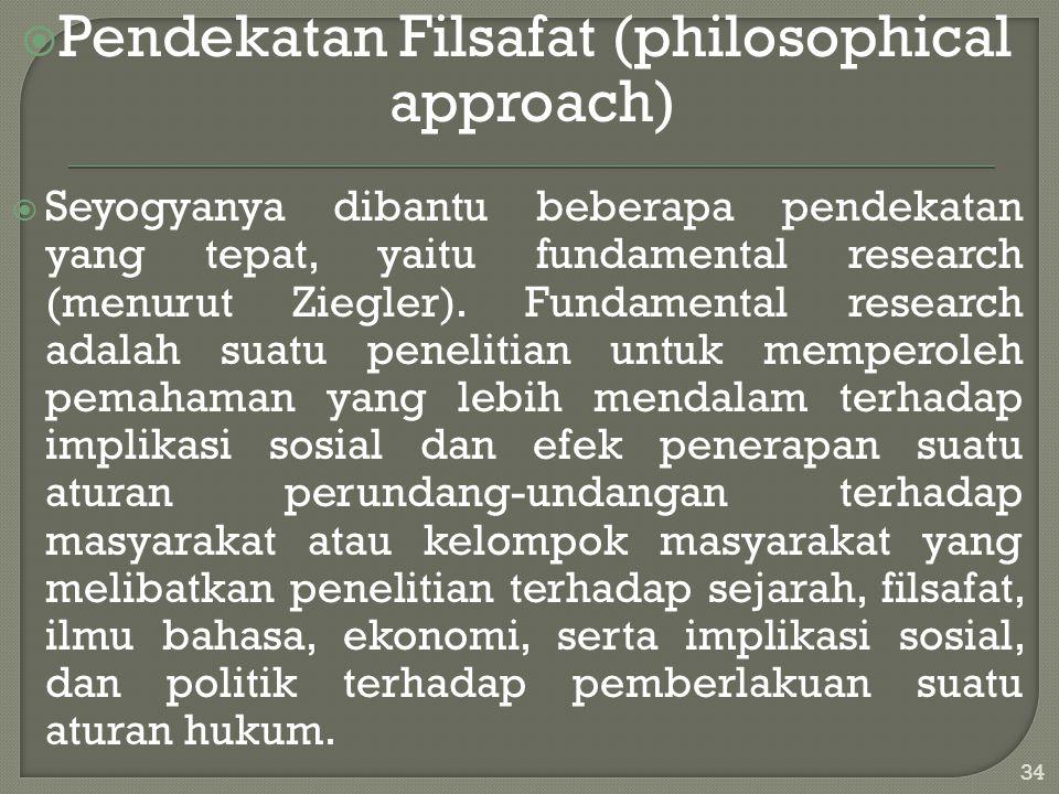  Pendekatan Filsafat (philosophical approach)  Seyogyanya dibantu beberapa pendekatan yang tepat, yaitu fundamental research (menurut Ziegler). Fund