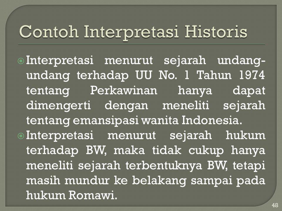  Interpretasi menurut sejarah undang- undang terhadap UU No. 1 Tahun 1974 tentang Perkawinan hanya dapat dimengerti dengan meneliti sejarah tentang e
