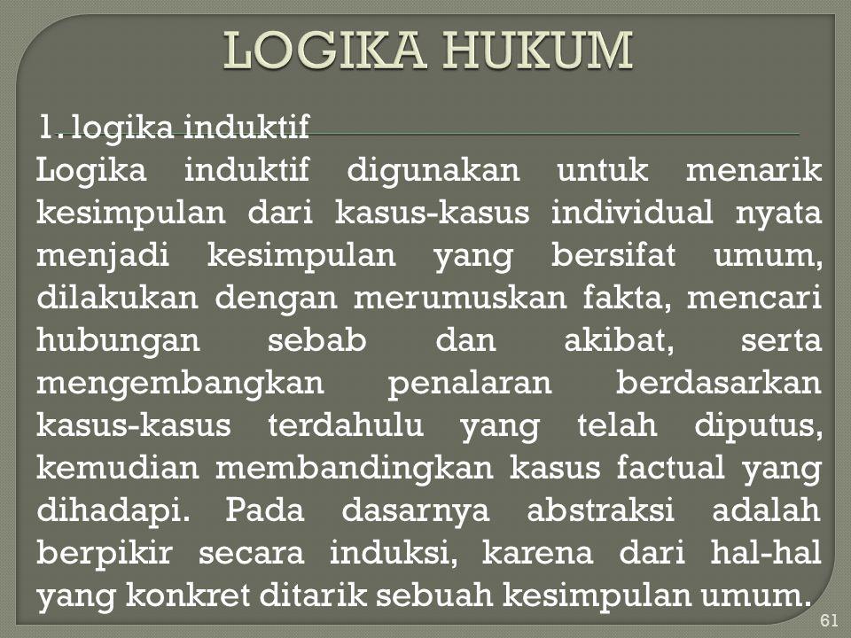 1. logika induktif Logika induktif digunakan untuk menarik kesimpulan dari kasus-kasus individual nyata menjadi kesimpulan yang bersifat umum, dilakuk