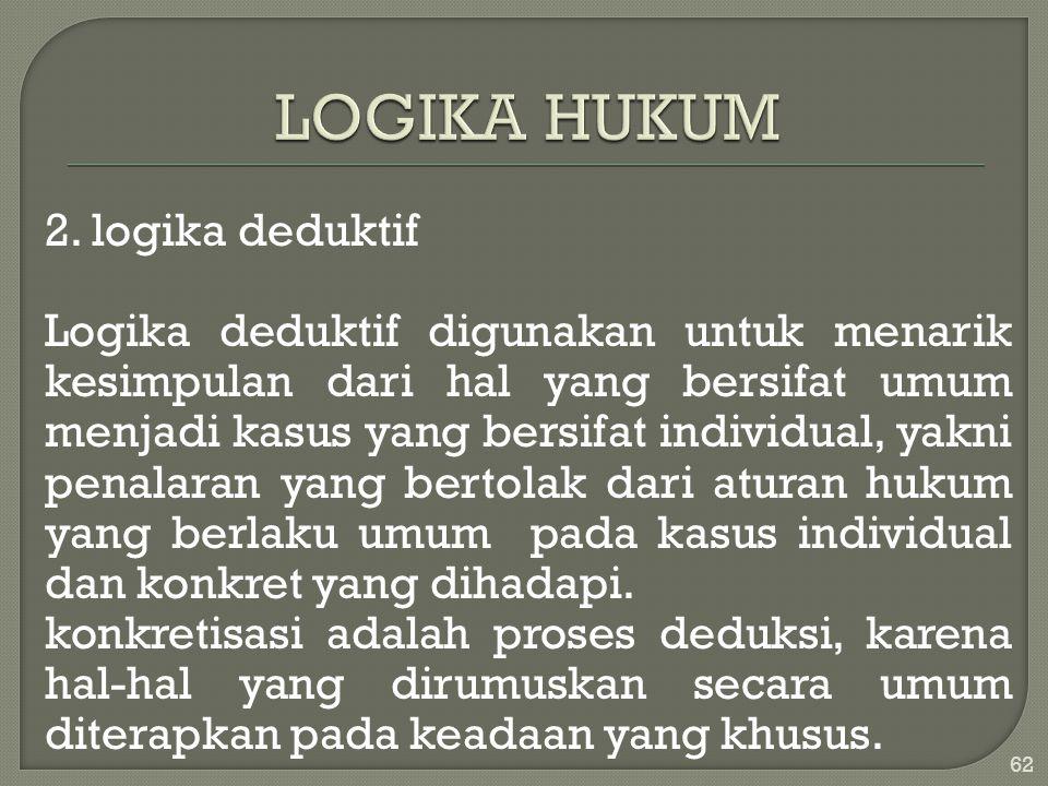 2. logika deduktif Logika deduktif digunakan untuk menarik kesimpulan dari hal yang bersifat umum menjadi kasus yang bersifat individual, yakni penala