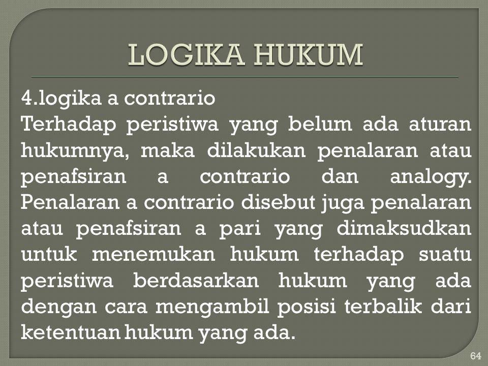 4.logika a contrario Terhadap peristiwa yang belum ada aturan hukumnya, maka dilakukan penalaran atau penafsiran a contrario dan analogy. Penalaran a
