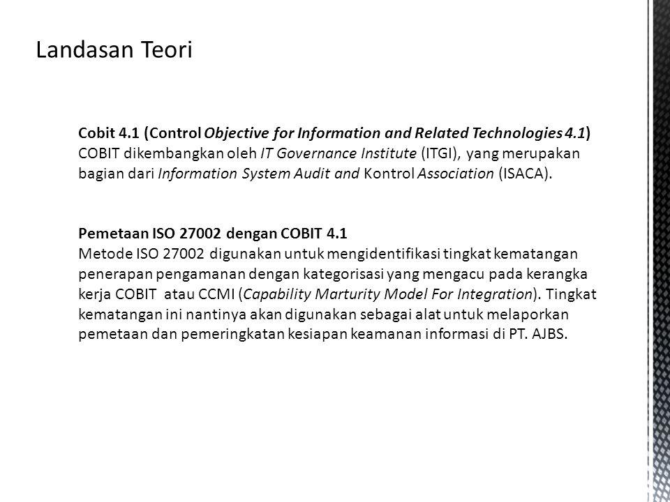 Cobit 4.1 (Control Objective for Information and Related Technologies 4.1) COBIT dikembangkan oleh IT Governance Institute (ITGI), yang merupakan bagi