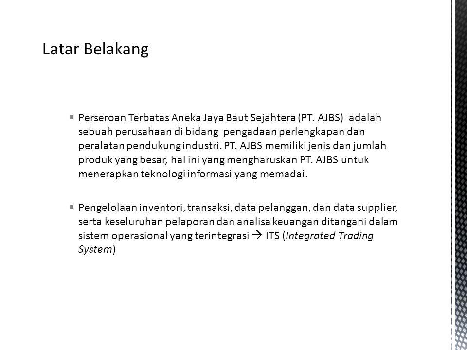  Perseroan Terbatas Aneka Jaya Baut Sejahtera (PT. AJBS) adalah sebuah perusahaan di bidang pengadaan perlengkapan dan peralatan pendukung industri.
