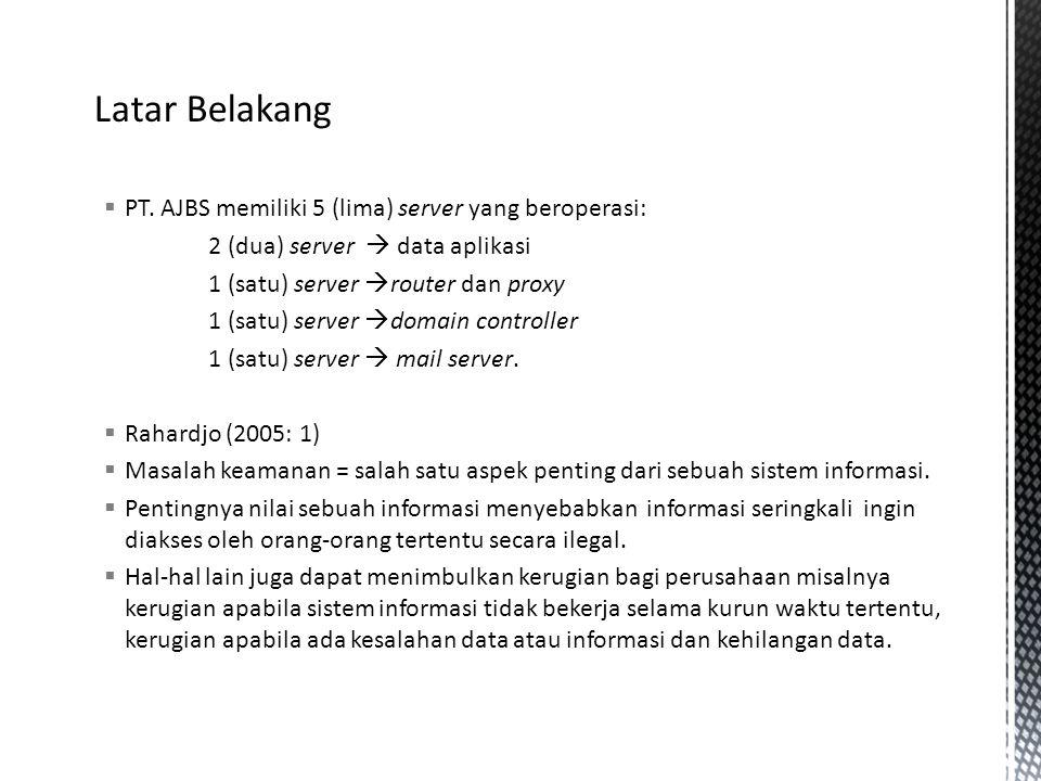  PT. AJBS memiliki 5 (lima) server yang beroperasi: 2 (dua) server  data aplikasi 1 (satu) server  router dan proxy 1 (satu) server  domain contro