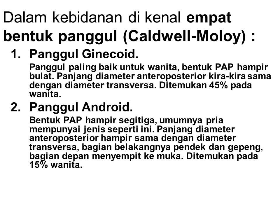 Dalam kebidanan di kenal empat bentuk panggul (Caldwell-Moloy) : 1.Panggul Ginecoid. Panggul paling baik untuk wanita, bentuk PAP hampir bulat. Panjan