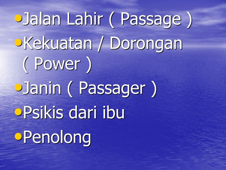 Jalan Lahir ( Passage ) Jalan Lahir ( Passage ) Kekuatan / Dorongan ( Power ) Kekuatan / Dorongan ( Power ) Janin ( Passager ) Janin ( Passager ) Psik