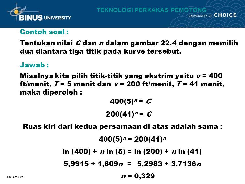 Bina Nusantara Contoh soal : Tentukan nilai C dan n dalam gambar 22.4 dengan memilih dua diantara tiga titik pada kurve tersebut. Jawab : Misalnya kit