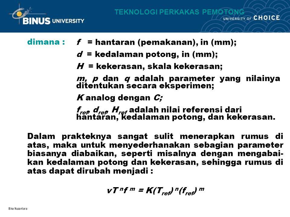 Bina Nusantara dimana : f = hantaran (pemakanan), in (mm); d = kedalaman potong, in (mm); H = kekerasan, skala kekerasan; m, p dan q adalah parameter yang nilainya ditentukan secara eksperimen; K analog dengan C; f ref, d ref, H ref adalah nilai referensi dari hantaran, kedalaman potong, dan kekerasan.
