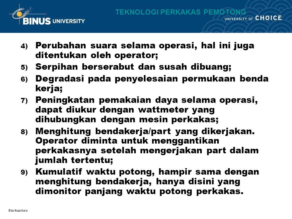 Bina Nusantara 4) Perubahan suara selama operasi, hal ini juga ditentukan oleh operator; 5) Serpihan berserabut dan susah dibuang; 6) Degradasi pada p