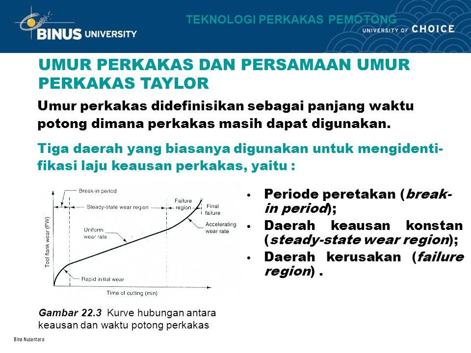 Bina Nusantara UMUR PERKAKAS DAN PERSAMAAN UMUR PERKAKAS TAYLOR Umur perkakas didefinisikan sebagai panjang waktu potong dimana perkakas masih dapat d