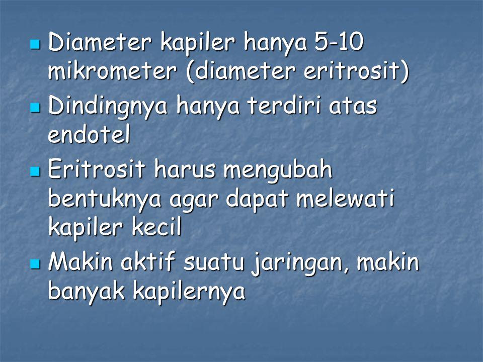 Diameter kapiler hanya 5-10 mikrometer (diameter eritrosit) Diameter kapiler hanya 5-10 mikrometer (diameter eritrosit) Dindingnya hanya terdiri atas