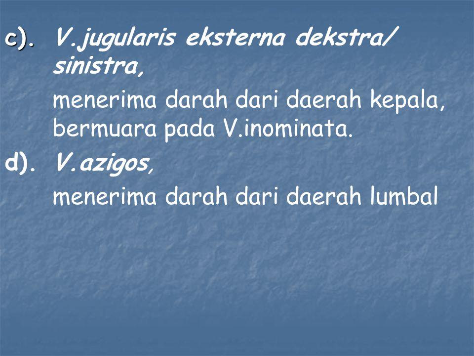 c). c).V.jugularis eksterna dekstra/ sinistra, menerima darah dari daerah kepala, bermuara pada V.inominata. d).V.azigos, menerima darah dari daerah l
