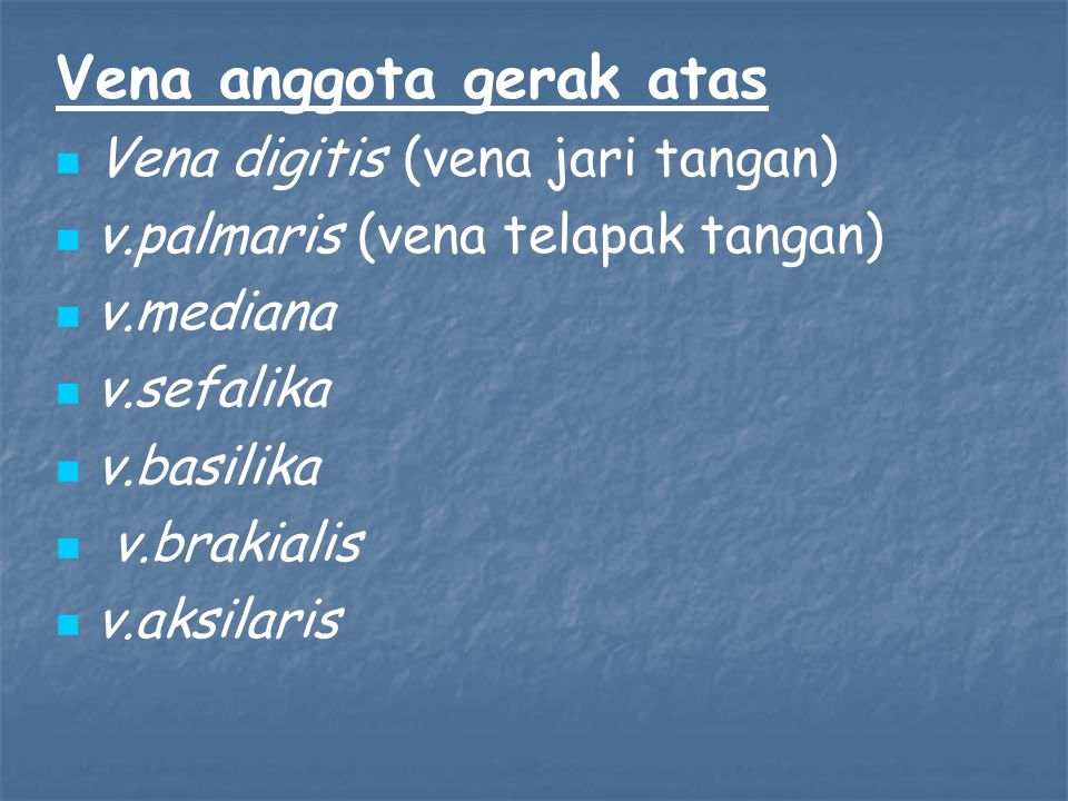 Vena anggota gerak atas Vena digitis (vena jari tangan) v.palmaris (vena telapak tangan) v.mediana v.sefalika v.basilika v.brakialis v.aksilaris