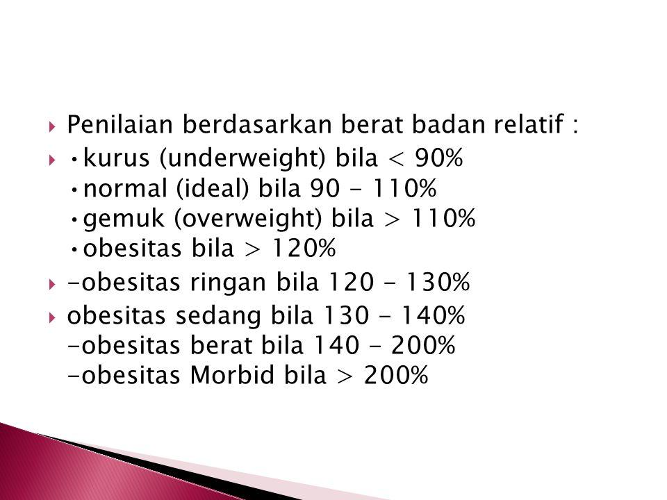  Penilaian berdasarkan berat badan relatif :  kurus (underweight) bila 110% obesitas bila > 120%  -obesitas ringan bila 120 - 130%  obesitas sedan