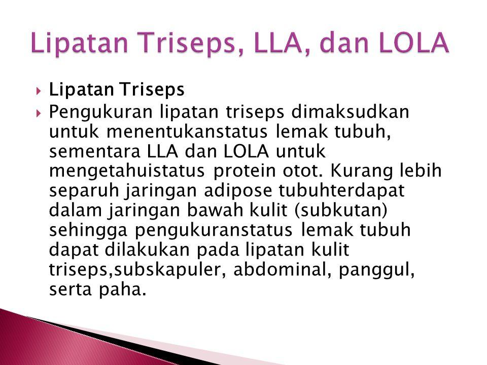  Lipatan Triseps  Pengukuran lipatan triseps dimaksudkan untuk menentukanstatus lemak tubuh, sementara LLA dan LOLA untuk mengetahuistatus protein o